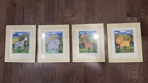 4 matching picture frames for baby's room