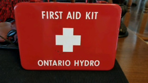 Intact vintage ontario hydro first aid kit.