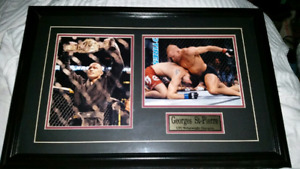 UFC GSP 2 PHOTOGRAPHS MOUNTED IN A WOODEN FRAME