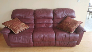 Genuine leather couch with reclinable chairs