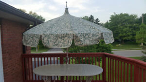 *MUST SEE* Cast Aluminum Hauser Patio Table, Umbrella and Stand