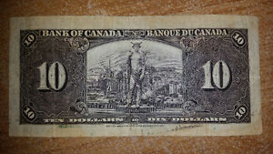 1937 10$ BILL IN GREAT CONDITION FOR THE YEAR. ONLY 55$......... London Ontario image 2