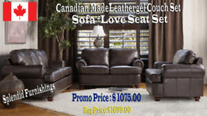 Brand new !! CUSTOM, CANADIAN MADE BROWN LEATHER AIRE SOFA SET