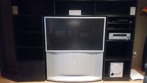 Sony TV, home theater system and stand