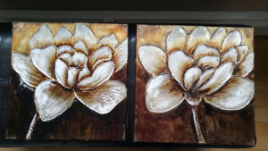 Set of 2 Peony Abstract Canvases