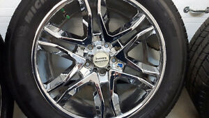 4 American Racing chrome mag wheels with 4 Michelin tires