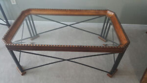 Glass and Iron brown coffee table