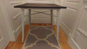 Wood Dining Table with White Metal Legs