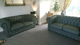 Sofas, Swarovski grey italian leather.