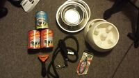 Dog accessories ,  bowls(4)  leash, furminator, nail clippers,