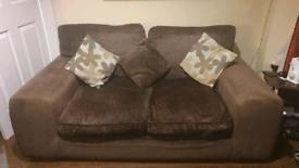 2 Seater Sofa & Armchair Brown Fabric