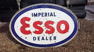 Vintage Two Sided Esso Dealer oval sing