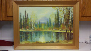 Listed Canadian artist E. Jalava landscape oil painting