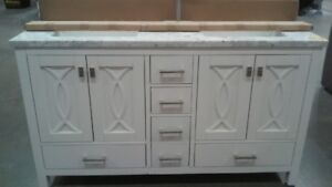 "60"" Carrara Marble Double Bathroom Vanity Top"