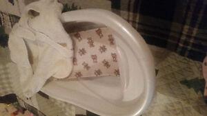 Newborn robe and bath tub