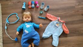 Cicciobello Love n Care Doll bottles. Drs kit. Noises cries & cheeks g