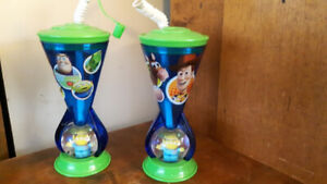 2 Disney Store Toy Story Buzz & Woody  Plastic Cup + Alien Base