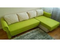 Lovely fabric corner sofa bed with storage