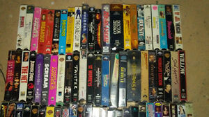 Vhs movies. Dvds and Blue Rays