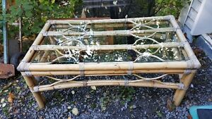 Bamboo / rattan and glass coffee table