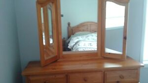 NEW PRICE - Solid Pine Dresser with Mirror