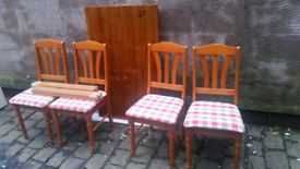 Wooden Pine Table & 4 Chairs.