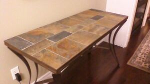 Stone and Iron Console and Side Table