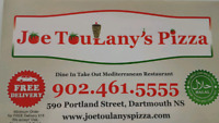 Joe Toulany's Pizza Now Hiring Drivers and Cooks