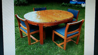 PINE TABLE AND CHAIRS WITH LEAF