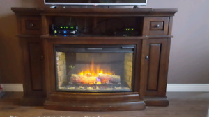 Solid Wood Fireplace/TV Stand