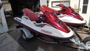 2 x 1998, 3 seater Sea Doo's with Trailer