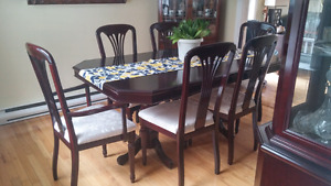Sold wood Dining set incl.6 chairs and buffet hutch - PRICE DROP