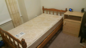 TWIN BED + MATTRESS + NIGHT TABLE