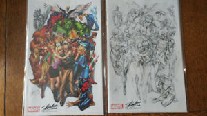 Rare Avengers 1 J.Scott Campbell Stan Lee colour & BW Comics