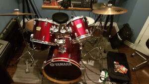 Red Yamaha YD Series Drum Kit and Sabian Cymbals with Stands