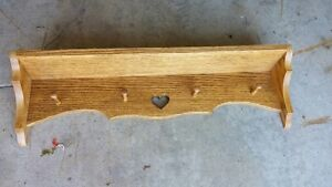 OAK COAT RACK 4 PEG AND SHELF
