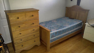 single bed with mattress and box spring and 5 drawer dresser