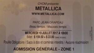 1 Metallica Concert Ticket for July19th in Montreal
