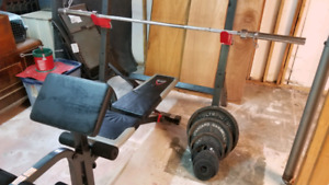Olympic weight set with rack and bench