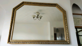 Mirror Gold Gilded colour ornate with antique decorative relief large