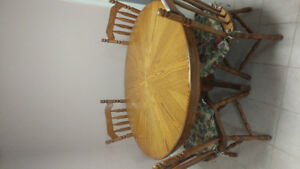 Solid Oak Wood Table Chairs