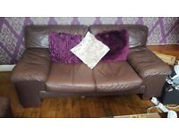 3 & 2 piece leather seater sofas brown in good condition