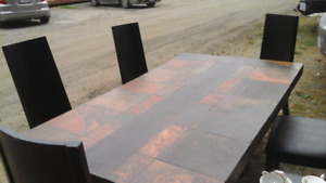 Dining room table x6 chairs slate