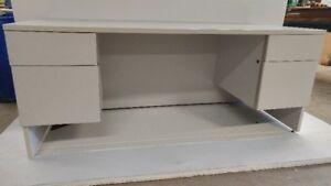 LIGHT GRAY STEEL DESK with DOUBLE  (2 DRAWERS) PEDESTALS