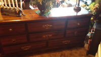 LARGE 5 DRAW TALL BOY AND LONG 8 DRAW DRESSER BOTH AOK