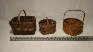 Antique Miniature Berry Baskets Collection Of 3