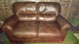 Lovely condition, quality leather sofa and chair, can deliver locally