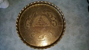 Beautiful vintage heavy hand-chased brass plate from Lebanon
