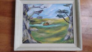 Nova Scotia folk art oil on canvas
