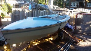 Wayfarer sailboat with trailer ready to sail or race